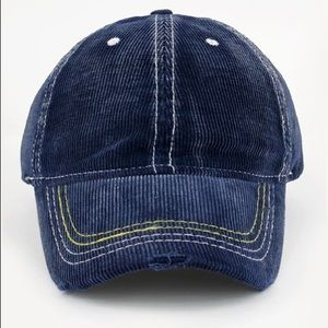 ✨RESTOCKED✨Navy Distressed Corduroy Baseball Cap